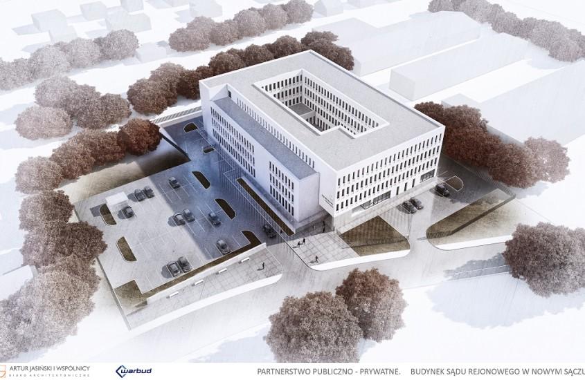 Budynek Sądu w Nowym Sączu z lotu